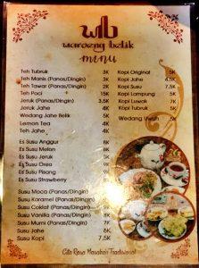 daftar menu di waroeng belik